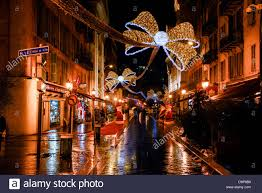 christmas decorations o at night over street in nice french