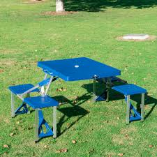 outsunny outdoor portable suitcase folding picnic table w 4 seats