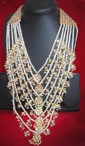 gold rani haar sets buy 7 layer kundan rani haar pearl gold plated necklace set online