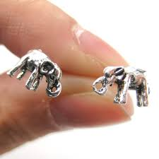 store stud earrings 3d miniature elephant animal stud earrings in sterling silver