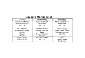 daycare menu templates u2013 11 free printable pdf documents download