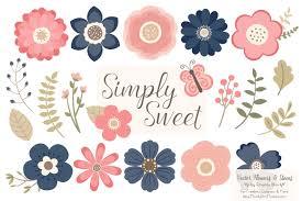 navy u0026 blush flowers clipart illustrations creative market