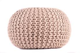 amazon com pouf ottoman hand knitted beige round cable style