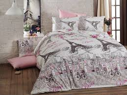 Cotton Duvet Cover Beautifully Illustrated Paris Eiffel Tower Pink Gray Queen