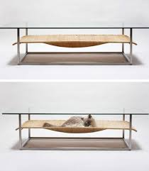 cat hammock hybrid glass coffee table u0026 hanging pet bed