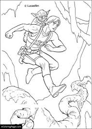yoda luke skywalker coloring ecoloringpage