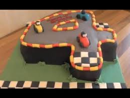 number 4 cake tutorial racing car cake and track theme youtube