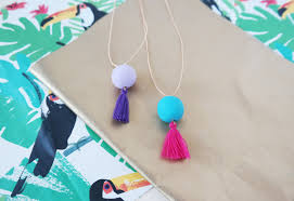 bead necklace with tassel images Turquoise clay pendant necklace with fuchsia tassel fimo bead jpg