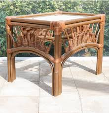 Outdoor Side Table Rattan Leader U0027s Bamboo And Rattan Wicker Weave Glass Top Side Table Ebth