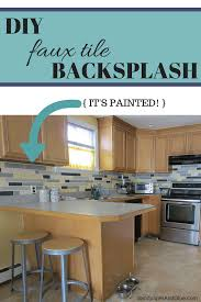 DIY Faux Tile Backsplash Stephanie Marchetti Sandpaper  Glue - Tile backsplash diy