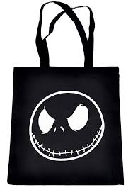 negative skellington tote book bag nightmare before