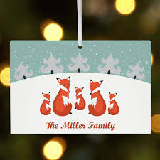 personalized fox family in snow christmas ornament walmart com