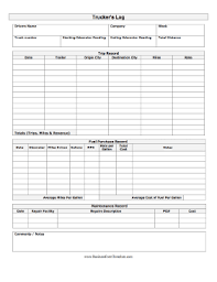 fuel report template trucker log template