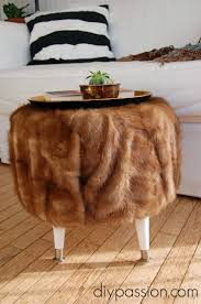 White Fur Ottoman by Living Room Interesting Fur Ottoman With Brown Wooden Floor And