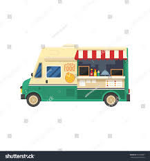 street food truck on city background stock vector 590199887