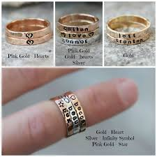 personalized gold rings sted stacking rings personalized gold silver pink