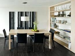 cozy simple modern dining room design with bookshelves and square