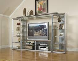 Contemporary Shelving Contemporary Big Screen Wall Unit W Glass Storage Shelves