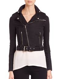 jacket moto the kooples cropped moto denim jacket in black lyst