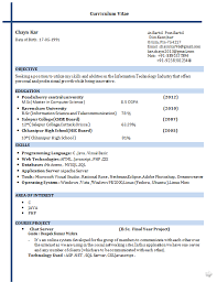 Cse Resume Format M Sc Computer Science Model Resume