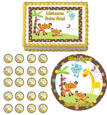 safari cake toppers fisher price safari jungle baby shower edible cake cupcake toppers