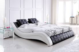 White Leather Bed Frame King Leather White Size Bed Frame Black Bedhead In Modern