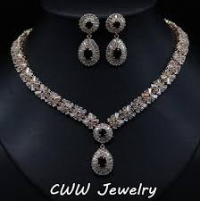 diamond necklace store images Luxury white gold plated elegant shape bridal cz diamond necklace jpg