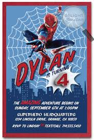 amazing spiderman birthday invitations spiderman superhero