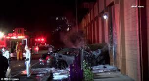 lighting stores in san fernando valley target store crash sees car burst into flames in san fernando valley