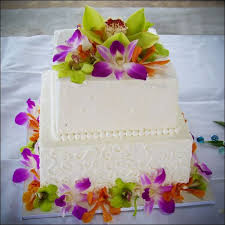 colorful orchid wedding cake 2