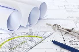 architectural plans architectural plans with drawing equipment stock image image