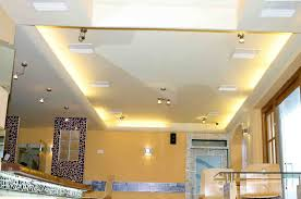 interior hovering ceiling design idea with led lights and