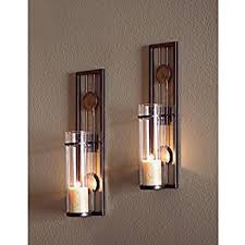Tuscan Candle Wall Sconces Amazon Com Contemporary Metal Candle Sconce Set 2 Pc Home