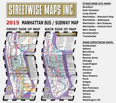 Map Of Manhattan New York City streetwise manhattan bus subway map laminated metro map of