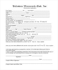 Social Club Membership Application Form Template 12 sle membership application forms sle forms
