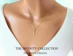 gold cross necklace women images 14kt solid gold cross necklace women simple small charm jpg