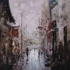 handmade oil painting old city street art pictures on the living room decoration wall art in painting calligraphy from home garden on aliexpress com