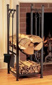Living Room Rack Design Black Metal Indoor Firewood Rack With Hooks For Living Room With