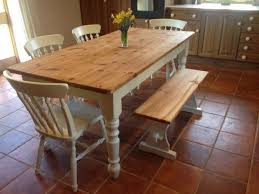 Farmhouse Kitchen Table Designed With Terracotta Floor Tiles And - Farmhouse kitchen table