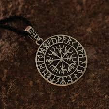 aliexpress men necklace images 1pcs wholesale norse symbol viking 39 s vegvisir rune circle amulet jpg
