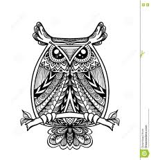 owl in zen doodle or zen tangle decorative l style black on white