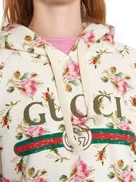 gucci u2013 rose print hooded cotton sweatshirt kirna zabête