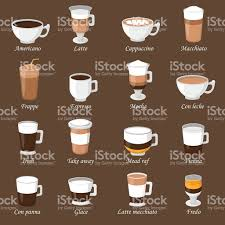 espresso coffee clipart coffee cups different cafe drinks types espresso mug with foam
