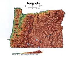 State Of Oregon Map by Topographical Map Of Oregon State