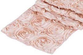 pink rosette table runner wedding rosette satin table runner blush rose gold at cv linens cv