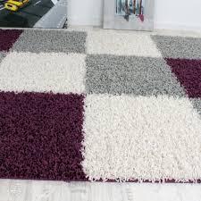 teppich rund rosa shaggy teppich hochflor langflor gemustert in karo lila schwarz