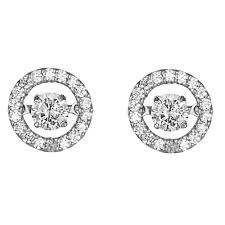 diamond stud earrings uk rhythm of 18ct 0 34ct halo design diamond stud earrings