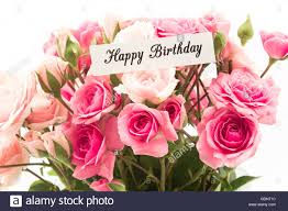 birthday boquet happy birthday card with bouquet of pink roses stock photo