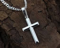jewelry silver cross necklace images Boys cross necklace etsy jpg