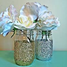 jar centerpieces 6 silver glitter glass jar centerpieces wedding